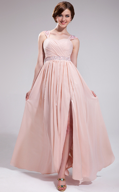 A-Line/Princess Sweetheart Floor-Length Chiffon Prom Dress With Ruffle Beading Appliques Lace Sequins Split Front (018025280)