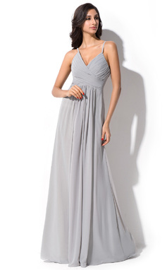 A-Line/Princess V-neck Floor-Length Chiffon Bridesmaid Dress With Ruffle (007051369)