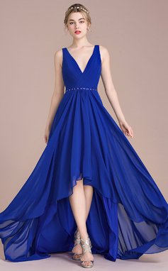 A-Line/Princess V-neck Asymmetrical Chiffon Prom Dresses With Ruffle Beading Sequins (018112650)