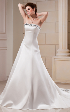A-Line/Princess Strapless Chapel Train Satin Wedding Dress With Embroidered Beading (002000089)