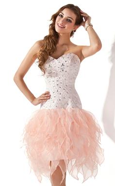 Vestidos princesa/ Formato A Coração Coquetel Organza de Vestido de boas vindas com Bordado Babados em cascata (022020798)
