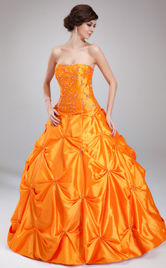 Платье для Балла В виде сердца Длина до пола Тафта Пышное платье с Рябь Бисер (021002891)