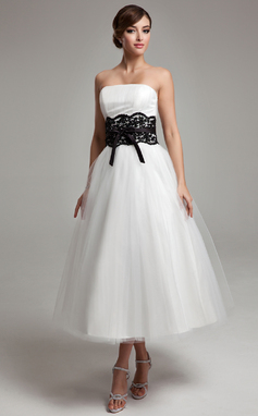 A-Line/Princess Strapless Tea-Length Tulle Wedding Dress With Lace Sash Beading Bow(s) (002011609)