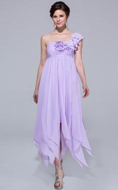 Väldet One-Shoulder Ankel-lång Chiffong Festklänning med Blomma (or) Svallande Krås (007037192)