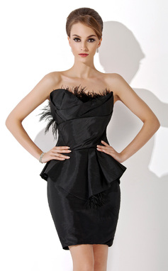 Платье-чехол Волнистый Длина до колен Тафта Коктейльные Платье с Рябь перья (016021161)