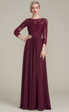A-Line/Princess Scoop Neck Floor-Length Chiffon Lace Mother of the Bride Dress With Ruffle Beading Sequins (008107651)