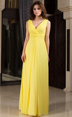 Corte A Decote V Longos Tecido de seda Vestido de madrinha com Pregueado (007027160)