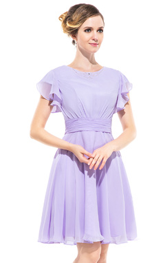 A-Line/Princess Scoop Neck Knee-Length Chiffon Bridesmaid Dress With Beading Cascading Ruffles (022051358)