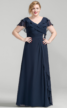 A-Line/Princess V-neck Floor-Length Chiffon Mother of the Bride Dress With Crystal Brooch Cascading Ruffles (008077027)
