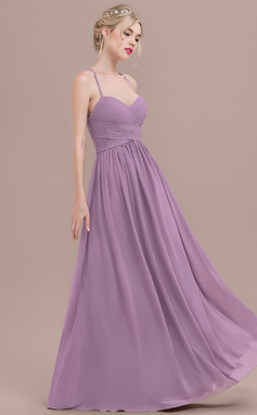 A-Line/Princess Sweetheart Floor-Length Chiffon Prom Dress With Ruffle (018125027)