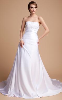 Forme Princesse Bustier en coeur Traîne mi-longue Charmeuse Robe de mariée avec Emperler (002014492)