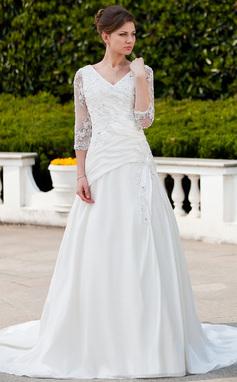 Corte A/Princesa Escote en V Cola capilla Tafetán Tul Vestido de novia con Volantes Encaje Bordado (002011625)