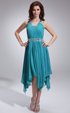 Forme Princesse Encolure carrée Traîne asymétrique Mousseline Robe de vacances avec Plissé Emperler (020036575)