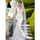 One-tier Chapel Bridal Veils With Finished Edge (006024575)