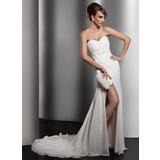 Vestidos princesa/ Formato A Coração Cauda longa De chiffon Vestido de noiva com Pregueado Renda Bordado Lantejoulas Frente aberta (002011415)