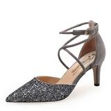 Donna Camoscio Glitter scintillanti Tacco a spillo Stiletto Punta chiusa con Fibbia scarpe (085185185)