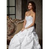 Duchesse-Linie Herzausschnitt Bodenlang Taft Quinceañera Kleid (Kleid für die Geburtstagsfeier) mit Rüschen Perlen verziert (021002870)