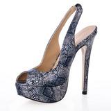 Kunstleer Stiletto Heel Sandalen Plateau Peep Toe met Dier Afdrukken schoenen (087016991)