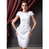 Sheath/Column Scoop Neck Knee-Length Satin Cocktail Dress With Flower(s) (016014226)