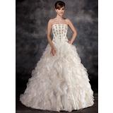 Платье для Балла Без лямок Церемониальный шлейф Органза Свадебные Платье с Бисер Ниспадающие оборки (002016934)