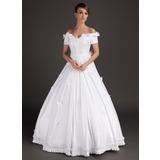 De baile Sem o ombro Longos Cetim Vestido de noiva com Bordado Apliques de Renda fecho de correr (002015489)