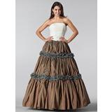 Duchesse-Linie Trägerlos Bodenlang Taft Spitze Quinceañera Kleid (Kleid für die Geburtstagsfeier) mit Rüschen (021005220)