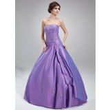 Ball-Gown Strapless Floor-Length Taffeta Quinceanera Dress With Beading Appliques Lace Cascading Ruffles (021002281)