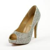 Couro Salto agulha Sandálias Plataforma Peep toe com Strass sapatos (085026633)