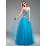 Vestidos princesa/ Formato A Coração Longos Tule Vestido de baile com Bordado (018018883)