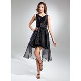 Трапеция/Принцесса V-образный Асимметричный Органза Коктейльные Платье с Рябь Бант(ы) (016015580)