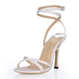 Женщины шелка как атласное Высокий тонкий каблук Сандалии Босоножки с пряжка горный хрусталь (047026357)