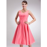Empire Scoop Neck Knee-Length Organza Bridesmaid Dress With Ruffle (007001796)