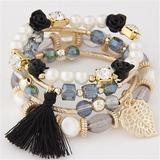 Leaves Shaped Alloy Beads Women's Fashion Bracelets (Set of 4) (137197220)