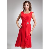 A-Line/Princess Square Neckline Knee-Length Chiffon Bridesmaid Dress With Crystal Brooch Cascading Ruffles (007001893)
