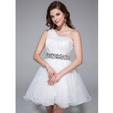 Vestidos princesa/ Formato A Um ombro Curto/Mini Organza de Vestido de boas vindas com Pregueado Bordado (022025447)