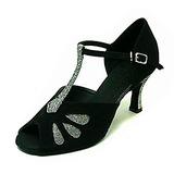 Mulheres Espumante Glitter Nubuck Saltos Sandálias Latino Salão de Baile com Correia -T Sapatos de dança (053013579)