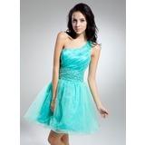 Vestidos princesa/ Formato A Um ombro Curto/Mini Organza de Vestido de cocktail com Pregueado Bordado (016014918)