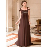 A-Line/Princess Off-the-Shoulder Sweep Train Chiffon Maternity Bridesmaid Dress With Ruffle Beading (008024442)