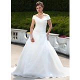Платье для Балла Выкл-в-плечо Церемониальный шлейф Органза Свадебные Платье с Рябь развальцовка (002000599)
