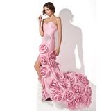Trompete/Sereia Coração Sweep/Brush trem Tafetá Vestido de baile com Pregueado Bordado fecho de correr Frente aberta (018024293)