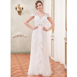 Trumpet/Mermaid Off-the-Shoulder Floor-Length Chiffon Wedding Dress With Beading Sequins Cascading Ruffles (002055220)
