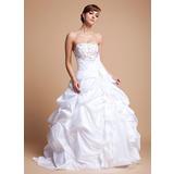 De baile Sem Alças Longos Tafetá Tule Vestido de noiva com Bordados Pregueado Beading lantejoulas (002012718)