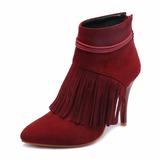 Vrouwen Suede PU Stiletto Heel Pumps Closed Toe Laarzen Half-Kuit Laarzen met Tassel schoenen (088182653)