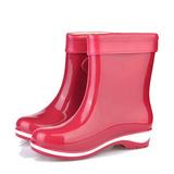Женщины PVC Низкий каблук Ботинки Сапоги до середины голени Резиновые сапоги с пряжка обувь (088127031)