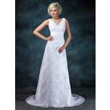 Império Decote V Cauda de sereia Renda Vestido de noiva com Pregueado Bordado Apliques de Renda (002000314)