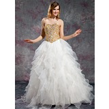 Ball-Gown Sweetheart Floor-Length Organza Prom Dresses With Beading Cascading Ruffles (018019131)