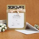 Estilo Clássico Cartão liso Wrap Invitation Cards com Fitas (Conjunto de 50) (114030774)