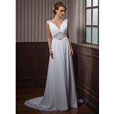 Трапеция/Принцесса V-образный Церемониальный шлейф шифон Свадебные Платье с Рябь Бисер (002011388)