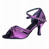 Mulheres Cetim Saltos Sandálias Latino Salão de Baile Sapatos de dança (053012957)