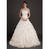 De baile Cabresto Cauda longa Tafetá Vestido de noiva com Renda Bordado (002015494)